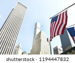 american flag on a building in... | Shutterstock . vector #1194447832