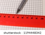 pencil and ruler on notepad... | Shutterstock . vector #1194448342