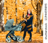 young mother with a stroller... | Shutterstock . vector #1194459895