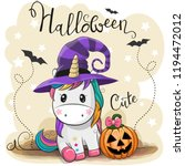 greeting halloween card cute... | Shutterstock .eps vector #1194472012