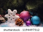 christmas balls with christmas... | Shutterstock . vector #1194497512