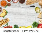 top view of table top with... | Shutterstock . vector #1194499072