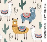 seamless pattern with llama and ... | Shutterstock .eps vector #1194503512