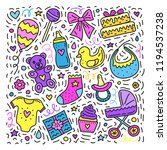 set of cute colored doodles for ...   Shutterstock .eps vector #1194537238