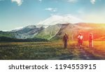 group of hikers man and womens... | Shutterstock . vector #1194553915