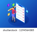 isometric businesswoman with... | Shutterstock .eps vector #1194564385
