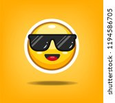 yellow smiling face with... | Shutterstock .eps vector #1194586705