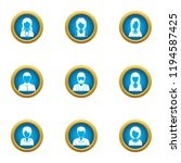 resident icons set. flat set of ... | Shutterstock .eps vector #1194587425