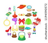 purchases icons set. cartoon... | Shutterstock .eps vector #1194590572