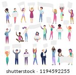 cheering protesting people... | Shutterstock .eps vector #1194592255