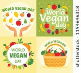 vegan day banner set. flat... | Shutterstock . vector #1194646318