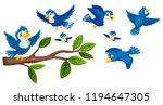 tree branch and birds... | Shutterstock .eps vector #1194647305