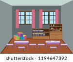 interior kindergarten school... | Shutterstock .eps vector #1194647392