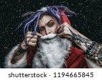 portrait of a cool punk santa... | Shutterstock . vector #1194665845