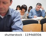 mature students in lecture in... | Shutterstock . vector #119468506