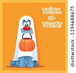 funny dog in ghost costume... | Shutterstock .eps vector #1194688675