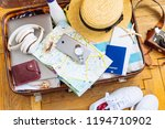 woman staff in suitcase. travel ... | Shutterstock . vector #1194710902