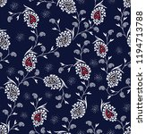 paisley pattern on navy | Shutterstock .eps vector #1194713788