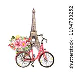 pink bicycle with flowers in... | Shutterstock . vector #1194733252