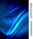 neon glowing wave  magic energy ... | Shutterstock .eps vector #1194737428