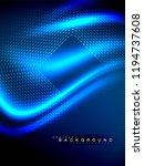 neon glowing wave  magic energy ... | Shutterstock .eps vector #1194737608