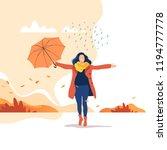 autumn season. young happy... | Shutterstock .eps vector #1194777778
