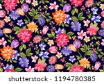 seamless watercolor floral... | Shutterstock . vector #1194780385