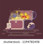 open wooden chest full of shiny ...   Shutterstock .eps vector #1194782458