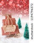 vertical christmas sleigh on... | Shutterstock . vector #1194796372