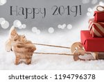 reindeer with sled  silver... | Shutterstock . vector #1194796378