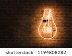 lightbulb neon on the empty... | Shutterstock . vector #1194808282
