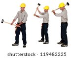three identical men hold sledge ... | Shutterstock . vector #119482225