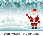 realistic santa claus on... | Shutterstock .eps vector #1194842302