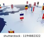 Flag of France in focus among other European countries flags. Europe marked with table flags 3d rendering