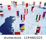Flag of Croatia in focus among other European countries flags. Europe marked with table flags 3d rendering