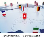 Flag of Switzerland in focus among other European countries flags. Europe marked with table flags 3d rendering