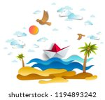 origami paper ship toy swimming ... | Shutterstock .eps vector #1194893242