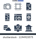 set of 9 digital filled icons... | Shutterstock . vector #1194923575