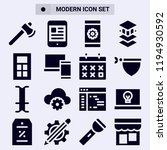set of 16 modern filled icons...