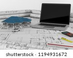 construction plans with laptop...   Shutterstock . vector #1194931672