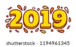 2019 happy new year. greeting...   Shutterstock .eps vector #1194961345