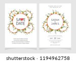 set of card with flower rose ... | Shutterstock .eps vector #1194962758