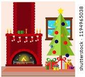 christmas fireplace room... | Shutterstock .eps vector #1194965038