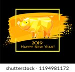 2019 happy new year greeting... | Shutterstock . vector #1194981172