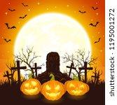 orange halloween background... | Shutterstock .eps vector #1195001272