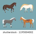 cute horses in various poses... | Shutterstock . vector #1195004002