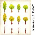 Grunge Trees Icons Set ...