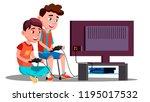 two children boy play a video... | Shutterstock .eps vector #1195017532