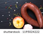 food concept raw blood pudding...   Shutterstock . vector #1195024222