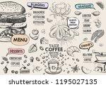 restaurant cafe menu  template...   Shutterstock .eps vector #1195027135